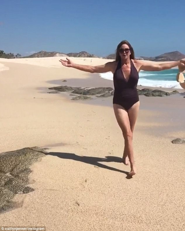 Caitlyn paraded along the beach in a swimsuit
