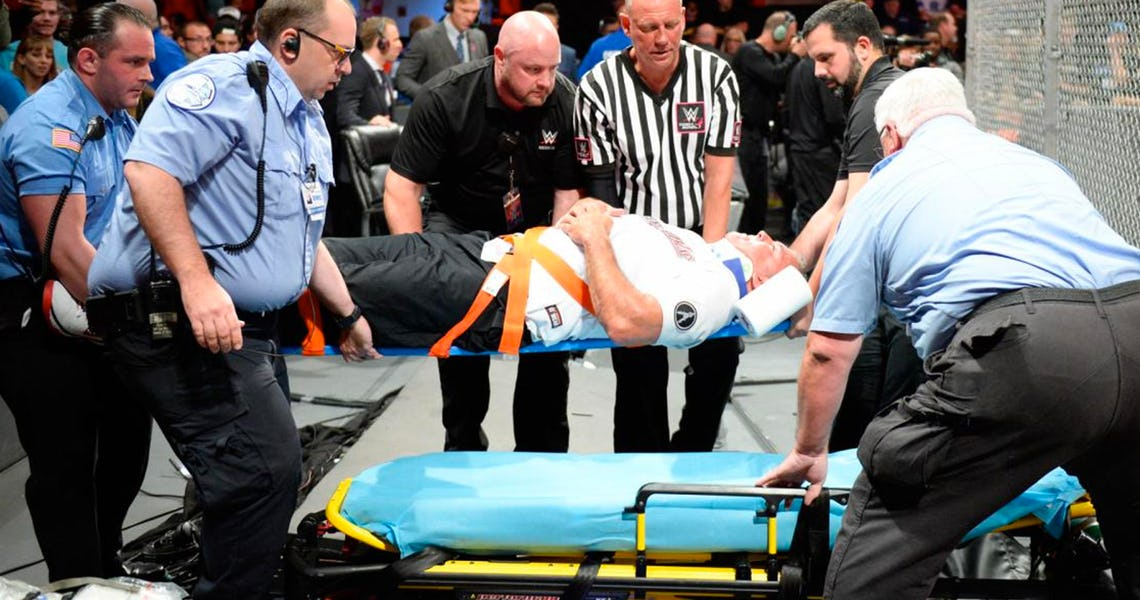 Shane-McMahon-On-A-Stretcher