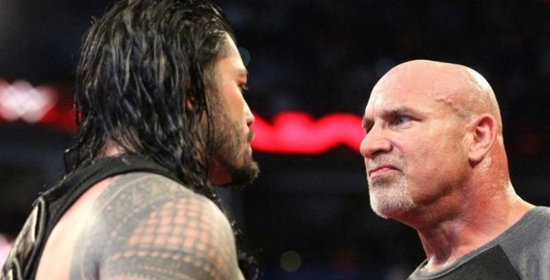 Roman Reigns gets a reaction from Goldberg in the wake of ridiculing his pre-coordinate custom